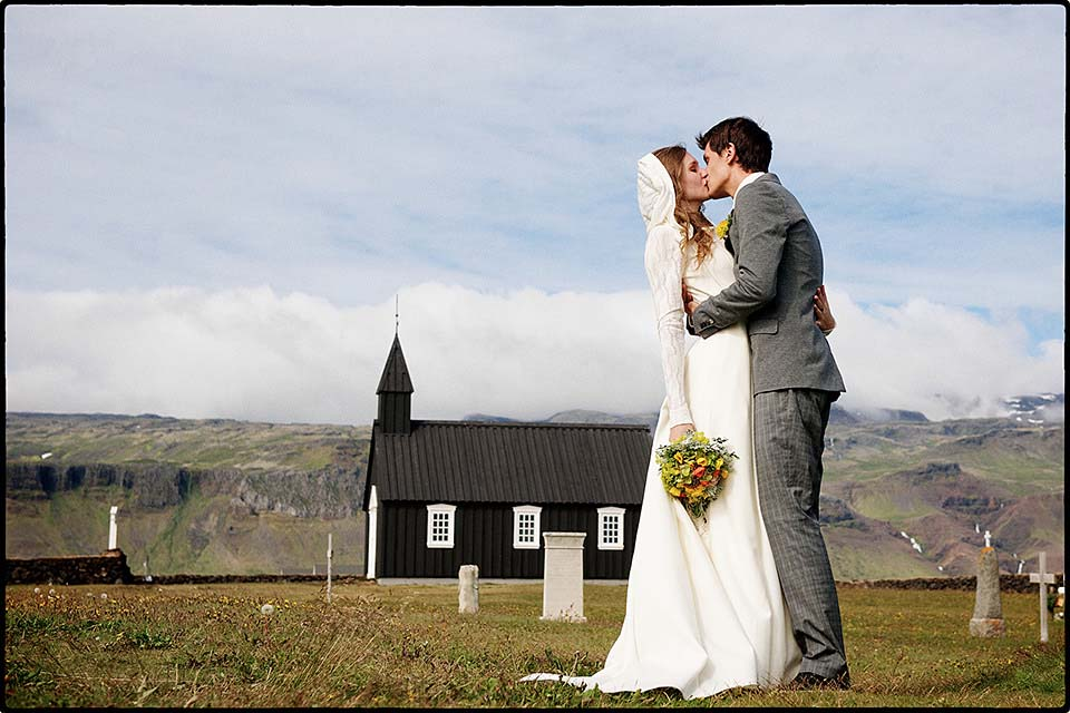 Kissing Couple Black Church Iceland