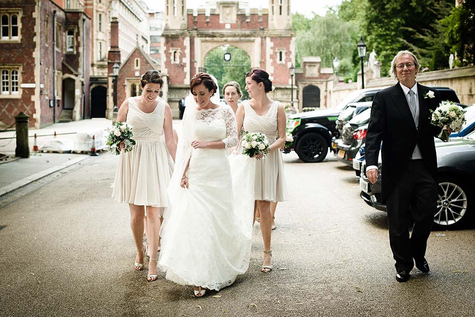 Bridal Party Walking To Church