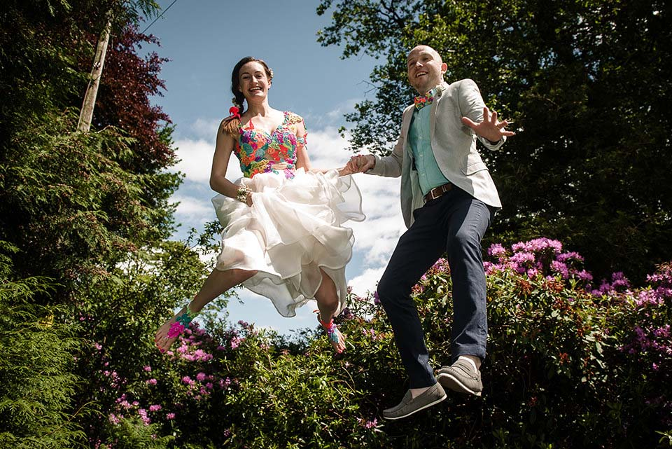 Bride Groom On Trampoline