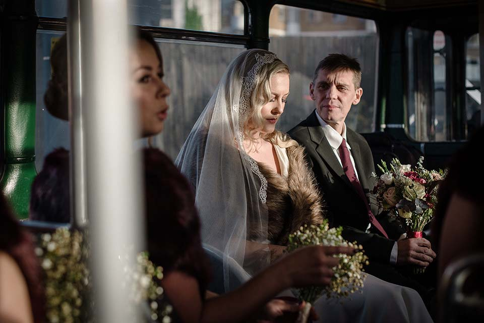 Bride And Dad On Wedding Bus